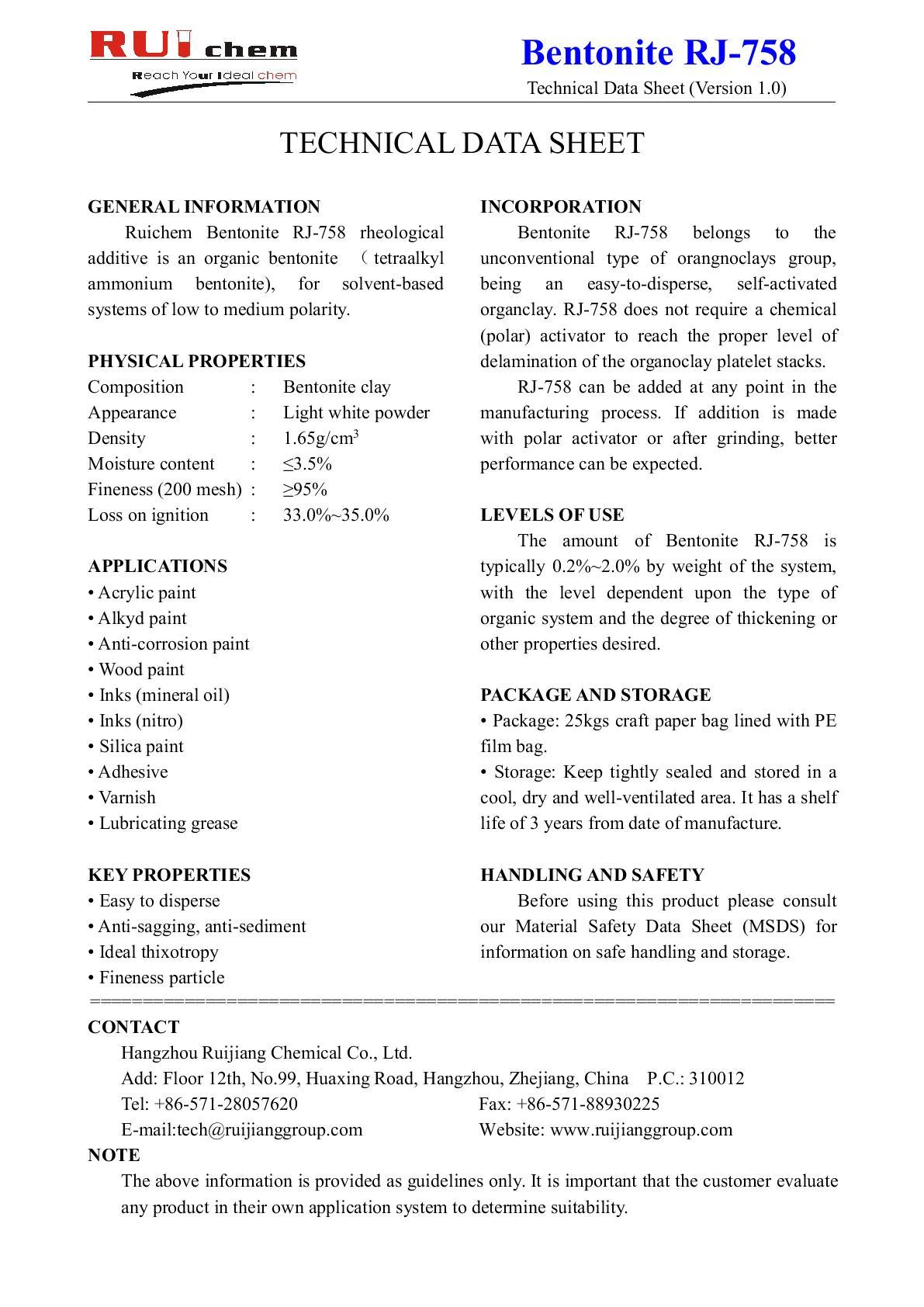 Organic bentonite RC—758_OKCHEM